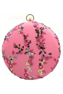 Picture of Pink Colored Embroidered Round Matka Heavy Clutches