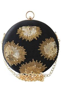 Picture of Exclusive Black Colored Designer Round Matka Heavy Clutches