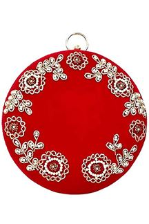Picture of Red Colored Embroidered Round Matka Heavy Clutches