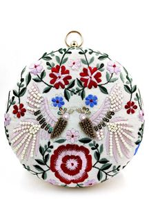 Picture of Off white Colored Embroidered Round Matka Heavy Clutches