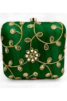 Picture of Exclusive Green Colored  Synthetic Embroidery Clutche