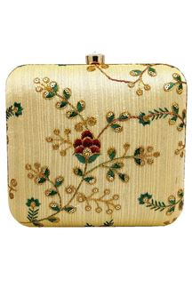Picture of Exclusive Golden Colored  Synthetic Embroidery Clutche