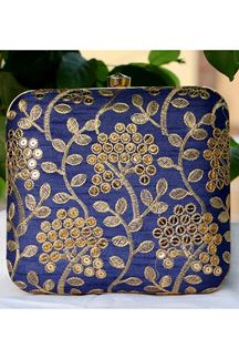 Picture of Exclusive Blue Colored  Synthetic Embroidery Clutche