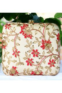 Picture of Exclusive Off white Colored  Synthetic Embroidery Clutche