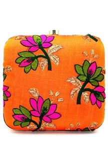 Picture of Exclusive Orange Colored  Synthetic Embroidery Clutche