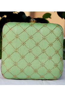 Picture of Exclusive Pista Green Colored  Synthetic Embroidery Clutche