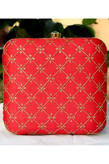Picture of Exclusive Red Colored  Synthetic Embroidery Clutche