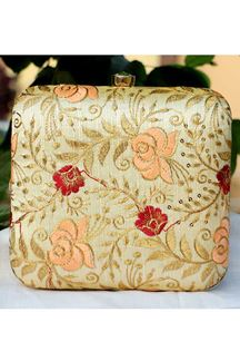 Picture of Exclusive Gold Colored  Synthetic Embroidery Clutche