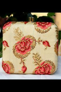 Picture of Exclusive Cream Colored  Synthetic Embroidery Clutche