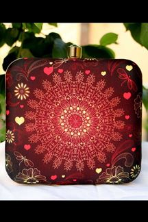Picture of Exclusive Maroon Synthetic Printed Clutche