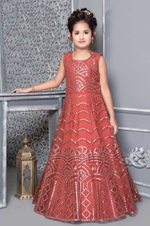 Picture of Tomato Red Colored Kids Gown