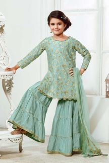 Picture of Green Colored Silk Gharara Kid Wear
