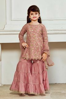Picture of Onion Pink Colored Silk Gharara Kid Wear