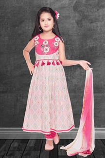 Picture of Designer Pink Colored Cotton Churidar Suit
