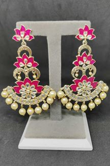 Picture of Fetching Pink & Cream Color Designer Long Earring