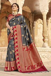 Picture of Adoring Grey & Maroon Colored Banarasi Silk Saree