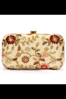 Picture of Exclusive Cream Colored  Designer Synthetic Fabric Clutches