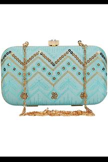 Picture of Exclusive Sky Blue Colored  Designer Synthetic Fabric Clutches