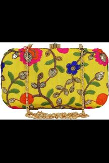 Picture of Exclusive Yellow Colored  Designer Synthetic Fabric Clutches