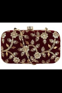 Picture of Exclusive Maroon Colored  Designer Synthetic Fabric Clutches