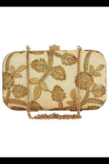 Picture of Exclusive Golden Colored  Designer Synthetic Fabric Clutches