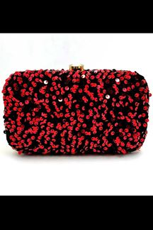 Picture of Exclusive Red Colored  Designer Synthetic Fabric Clutches