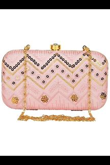 Picture of Exclusive Light Pink Colored  Designer Synthetic Fabric Clutches