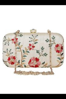 Picture of Exclusive Off white Colored  Designer Synthetic Fabric Clutches