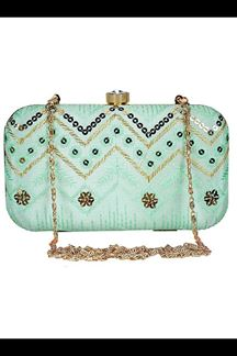 Picture of Exclusive Sea Green Colored  Designer Synthetic Fabric Clutches