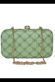Picture of Exclusive Green Colored  Designer Synthetic Fabric Clutches