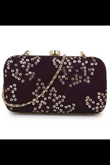 Picture of Exclusive Wine Colored  Designer Synthetic Fabric Clutches