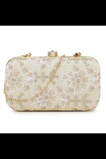 Picture of Exclusive Off-White Colored Designer Synthetic Fabric Clutches