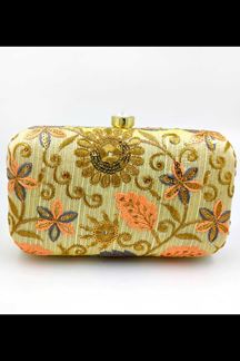 Picture of Exclusive lemon Yellow Colored Designer Synthetic Fabric Clutches