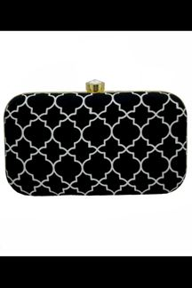 Picture of Exclusive Black Colored Designer Synthetic Fabric Clutches