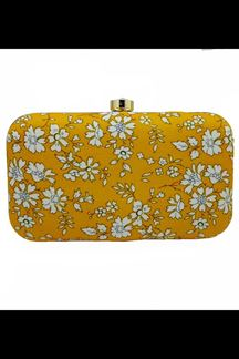 Picture of Exclusive Mustard Colored Designer Synthetic Fabric Clutches