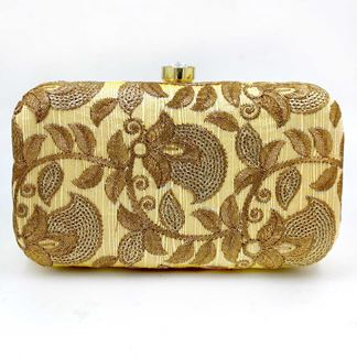 Picture of Exclusive Gold Colored Designer Synthetic Fabric Clutches