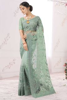 Picture of Designer Green Colored Net Partwear Saree