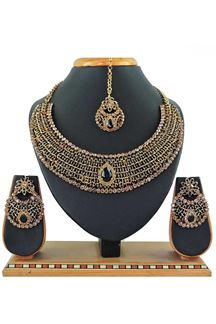 Picture of Black Colored Imitation Jewellery-Necklace Set
