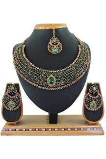 Picture of Green Colored Imitation Jewellery-Necklace Set