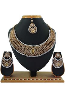 Picture of Golden Colored Imitation Jewellery-Necklace Set