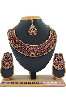 Picture of Maroon Colored Imitation Jewellery-Necklace Set