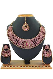 Picture of Pink Colored Imitation Jewellery-Necklace Set