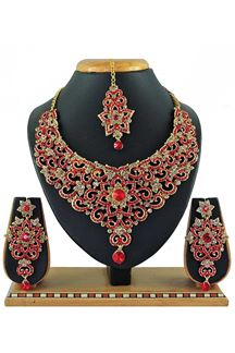 Picture of Beautiful Red Colored Stone Imitation Necklace Set
