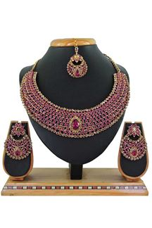 Picture of Rani Pink Imitation Jewellery-Necklace Set