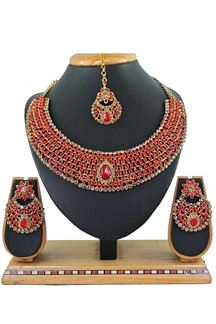 Picture of Red Colored Imitation Jewellery-Necklace Set