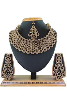 Picture of Ally Black Colored Imitation Jewellery-Necklace Set