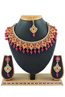 Picture of Imitation Rani Pink Colored Jewellery-Necklace Set