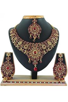 Picture of Beautiful Maroon Colored Stone Imitation Necklace Set