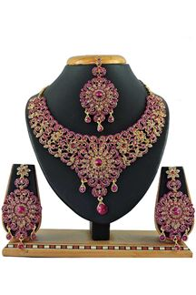 Picture of Beautiful Rani Pink Colored Stone Imitation Necklace Set