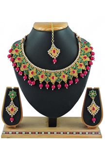Picture of Beautiful Multi Colored Stone Imitation Necklace Set